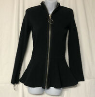 Betsy Johnson Women's Long Sleeve Black Textured Knit Peplum Jacket Size S NWT