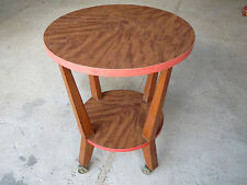 Small pedestal table coffee table vintage years 1950 vintage retro on wheels