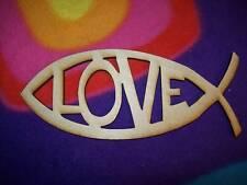 "UNFINISHED LOVE FISH WOOD FISH - 4.6"" x 8.6"""