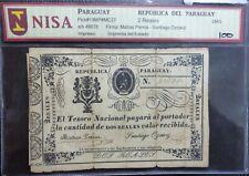 PARAGUAY BANKNOTE 2 Reales, P.19  F/Good  1865