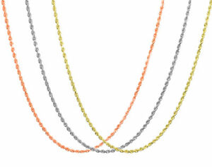 """10K Rose White Yellow Gold 1.5mm 1.8mm 2.5mm Rope Chain Pendant Necklace 14""""-30"""""""
