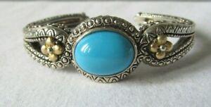Barbara Bixby Sterling/18K Gold Medium Size Turquoise Gemstone Cuff Bracelet