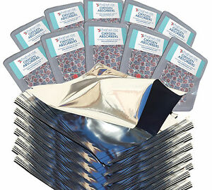 PackFreshUSA 100 Pack One Quart Genuine Mylar Bags + 300cc Oxygen Absorbers