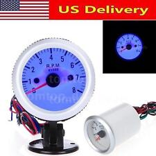 "2"" 52mm 0-8000RPM Car Auto LED Blue Pointer Tach Tachometer Gauge w/ Holder Cup"