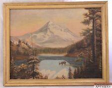 Mountains Woods Deer Stream Vtg Oil on Canvas Painting Landscape Cabin Art Wood