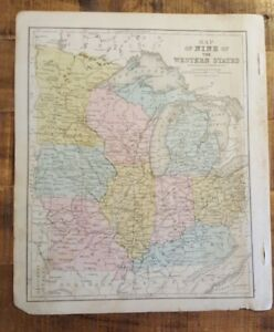 Antique Hand Colored MAP OF 9 THE WESTERN STATES/US Common School Geography 1873