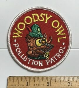 Woodsy Owl Pollution Patrol Red Embroidered Round Souvenir Patch