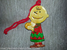 CHARLIE BROWN Vintage Keepsake CHRISTMAS ORNAMENT Clay Plaster PEANUTS Snoopy