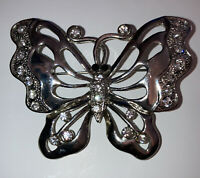 Vintage Style Costume Jewellery Crystal Large Butterfly Silver Tone Brooch