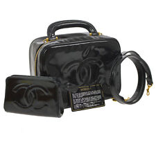 Auth CHANEL CC Cosmetic Vanity Hand Bag Black Patent Leather Vintage AK08468