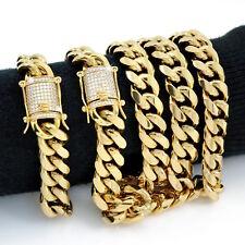 Men Cuban Miami Link Bracelet & Chain Set  18k Gold Plated 14mm 1ct Lab Diamonds