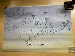 VINTAGE FIG.7 DIAGRAM OF BRITISH RAIL PANTOGRAPH BASE ASSEMBLY 41.5cm x 59.5cm