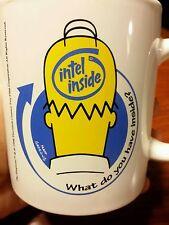 Homer Simpson 1998 PROMO Mug Intel Inside The Simpsons Vintage Computer RARE 90s