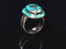 Traditioneller Tibetischer Türkis Ring tibetan turquoise ring neusilber  Nr.15