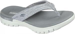 Skechers ON-THE-GO FLEX Ladies Womens Pool Summer Linen Flip Flops Grey & White