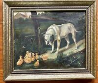 H.B. Steele ANTIQUE Bull DOG DUCKS Famous Original Oil Painting Framed Art Folk