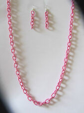 SILKY CHAIN NECKLACE EARRINGS SET PINK WITH SILVER PLATED WIRES & CLASP