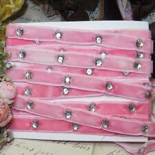 "1y 3/8"" Vtg French Pink Velvet Ribbon Wht Rhinestone Antq Metal Thread Applique"