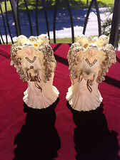 VINTAGE TRIPLE ANGELS SET OF 2/HOLIDAY COLLECTIBLE ANGEL FIGURINE/CANDLE HOLDER