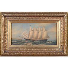 FTN030-SC075-2, Niagara Furniture, Ship in Harbor Scene, Oil Painting