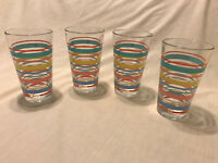Set of 4 FIESTAWARE Homer Laughlin 14 oz Drinking Glasses Fiesta Stripes RARE