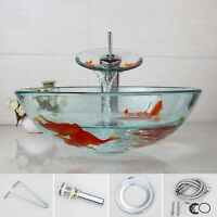 CN Round Goldfish Hand Paint Bathroom Glass Sink Bowl + Waterfall Chrome Taps