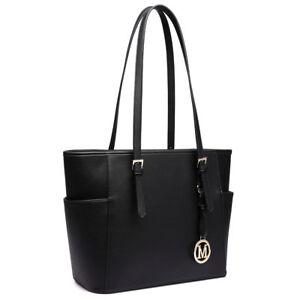 PU Leather Ladies Designer Tote Shoulder Handbag Long Handle Bag Black
