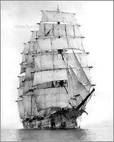 Photo: Steel Sailing Ship 4 Masted Hougomont, 1920 - Very Rare View