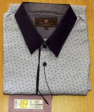 """NEW M&S COTTON TAILORED FIT LONG SLEEVE SHIRT SIZE L - 41-43"""" (104-109cm) CHEST"""
