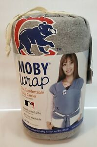 New MOBY Wrap MLB Edition Chicago Cubs Logo Baby Carrier Gray Babies 8-35 lbs