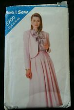 1987 Butterick See & Sew 5700 size A (8-10-12) Jacket & Skirt Sewing Pattern