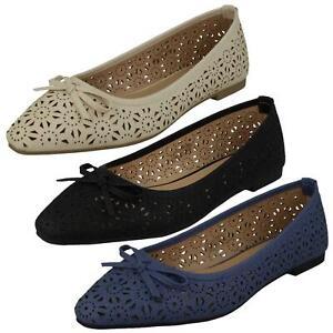 Solde Femmes Spot On à Enfiler Découpe Détail Plat Chaussure avec Noeud F8R0460