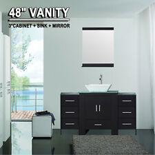 """48"""" Bathroom Vanity Cabinet & Sink/ Faucet/ Mirror/ Glass Top Modern Black Wood"""