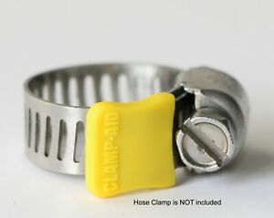"""20 Clamp-aid hose clamp safety caps for 5/16"""" wide hose clamp bands in Yellow"""
