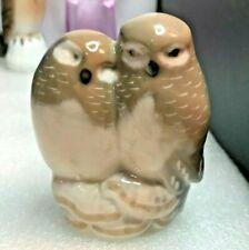 Vintage Royal Copenhagen Denmark Owls #834 Painted Porcelain Bird Figurine