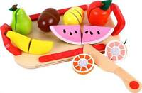 Lelin Wooden Cutting Fruit Play Set Childrens Food Pretend Play For Ages 3yrs+