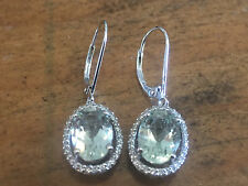 14KT White Gold 1/2 CT Diamond & Prasiolite Drop Dangle Chandelier Earrings