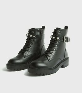 New look Black Leather-Look Stud Lace Up Ankle Boots UK 7