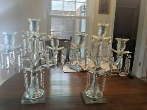 Antique Crystal Candelabra pair with 3 arms and extra crystals