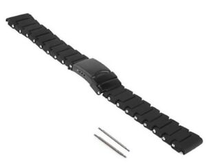 20mm Black Polyurethane PVD Rubber Link Replacement Bracelet Watch Band Diver