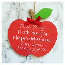 Thank You Teacher Personalised Apple Plaque Keepsake Sign Present School Gift