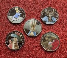 More details for set of coloured 2017 beatrix potter 50p coins plus a free 2016 peter rabbit 50p