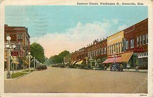 Mississippi, MS, Greenville, Washington ST 1946 Postcard
