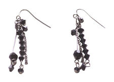 Tres Chic Black Plastic Diamond /multi-stranded & Chain Hook Earrings(Zx165)