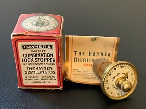 RARE Antique 1897 HAYNER'S WHISKEY BOTTLE COMBINATION LOCK STOPPER with Box!