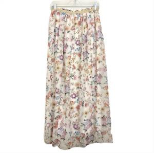 Vintage Floral Maxi Skirt Medium Cottagecore Prairie Lined Elastic Womens