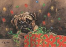 Pug Dog Christmas Presents Painting Christmas Xmas Card