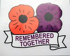 'Remembered Together' Purple & Red Poppy car sticker