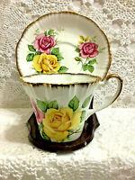 Vintage 'Salisbury' English Bone China Tea Cup & Saucer Roses with Gold Trim