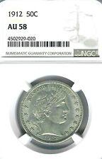 1912 Barber Half Dollar : NGC AU58
